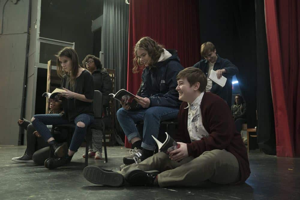 "RISE -- ""Pilot"" Episode 101 -- Pictured: (l-r) Erin Kommor as Sasha, Katherine Reis as Jolene, Ellie Desautels as Michael Hallowell -- (Photo by: Peter Kramer/NBC)"