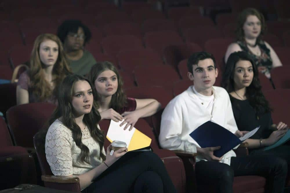 """RISE -- """"Pilot"""" Episode 101 -- Pictured: (l-r) Amy Forsyth as Gwen Strickland, Katherine Reis as Jolene, Ted Sutherland as Simon Saunders, Auli'i Cravalho as Lilette Suarez -- (Photo by: Peter Kramer/NBC)"""