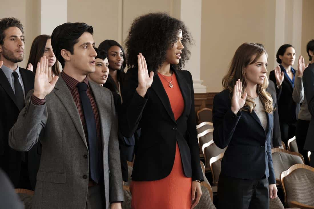 """FOR THE PEOPLE - """"Pilot"""" - Set in the United States District Court for the Southern District of New York (a.k.a. """"The Mother Court""""), the new Shondaland series follows six talented young lawyers working on opposite sides of the law and handling the most high-profile and high-stakes federal cases in the country. These lawyers will be put to the test both personally and professionally as their lives intersect in and out of America's most prestigious trial court, on """"For The People,"""" TUESDAY, MARCH 13 (10:00-11:00 p.m. EDT), on The ABC Television Network. (ABC/Nicole Wilder) WESAM KEESH, JASMIN SAVOY BROWN, BRITT ROBERTSON"""