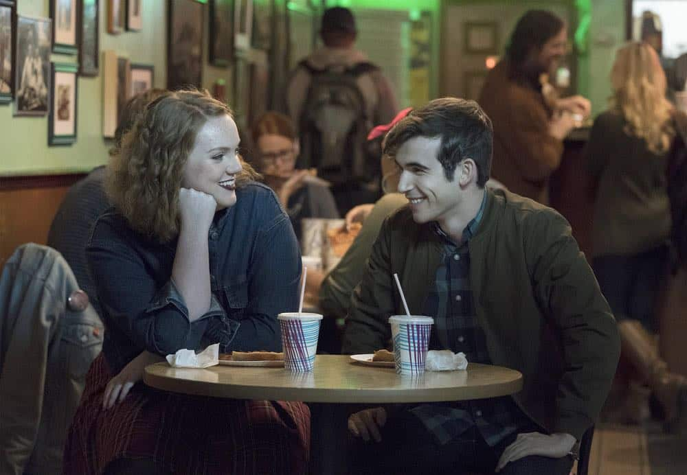 "RISE -- ""Most of All to Dream"" Episode 102 -- Pictured: (l-r) Shannon Purser as Anabelle, Ted Sutherland as Simon Saunders -- (Photo by: Virginia Sherwood/NBC)"