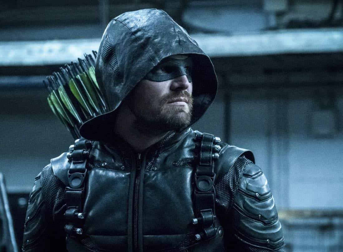 "Arrow -- ""The Thanatos Guild"" -- Image Number: AR616b_0344.jpg -- Pictured: Stephen Amell as Oliver Queen/Green Arrow -- Photo: Katie Yu/The CW -- © 2018 The CW Network, LLC. All rights reserved."