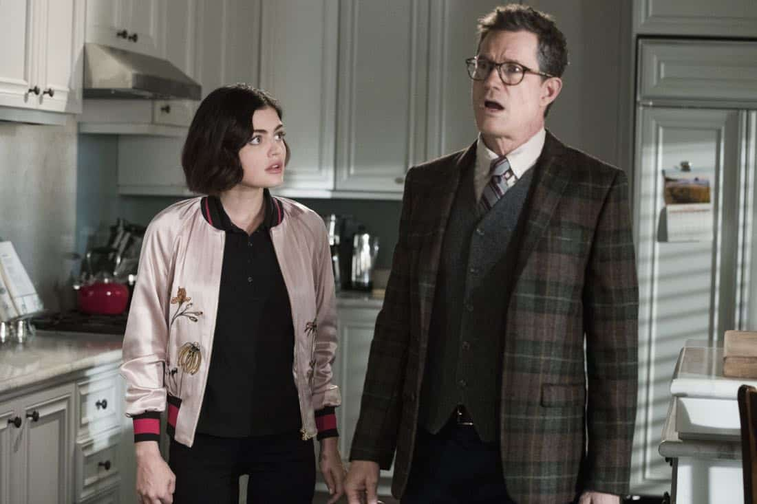 "Life Sentence -- ""Re-Inventing the Abbotts"" -- Image Number: LFS102c_0156b.jpg -- Pictured (L-R): Lucy Hale as Stella and Dylan Walsh as Peter -- Photo: Jack Rowand/The CW -- © 2018 The CW Network, LLC. All Rights Reserved."