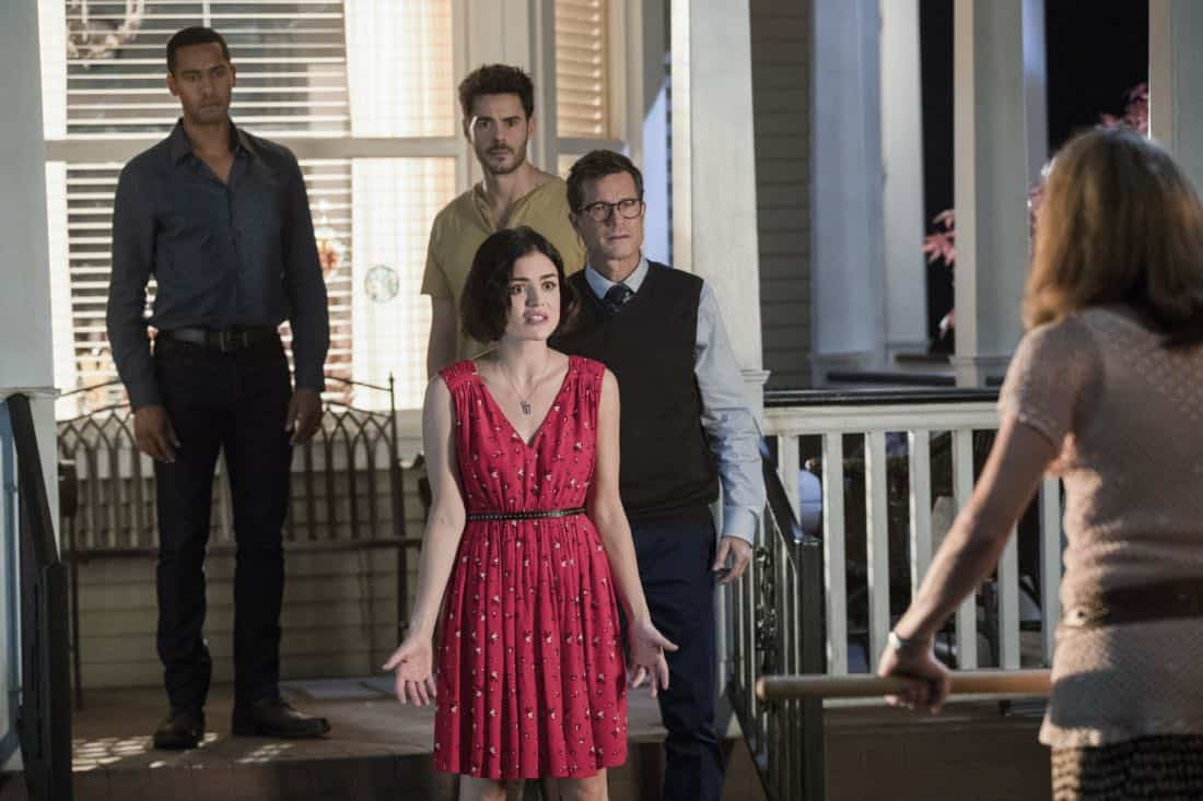 "Life Sentence -- ""Re-Inventing the Abbotts"" -- Image Number: LFS102c_0360b.jpg -- Pictured (L-R): Elliot Knight as Wes, Lucy Hale as Stella, Jayson Blair as Aiden, Dylan Walsh as Peter and Gillian Vigman as Ida -- Photo: Jack Rowand/The CW -- © 2018 The CW Network, LLC. All Rights Reserved."