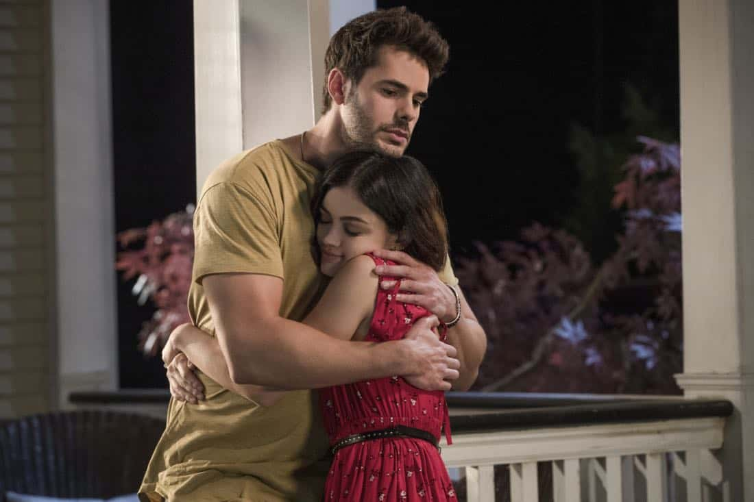 "Life Sentence -- ""Re-Inventing the Abbotts"" -- Image Number: LFS102c_0431b.jpg -- Pictured (L-R): Jayson Blair as Aiden and Lucy Hale as Stella -- Photo: Jack Rowand/The CW -- © 2018 The CW Network, LLC. All Rights Reserved."