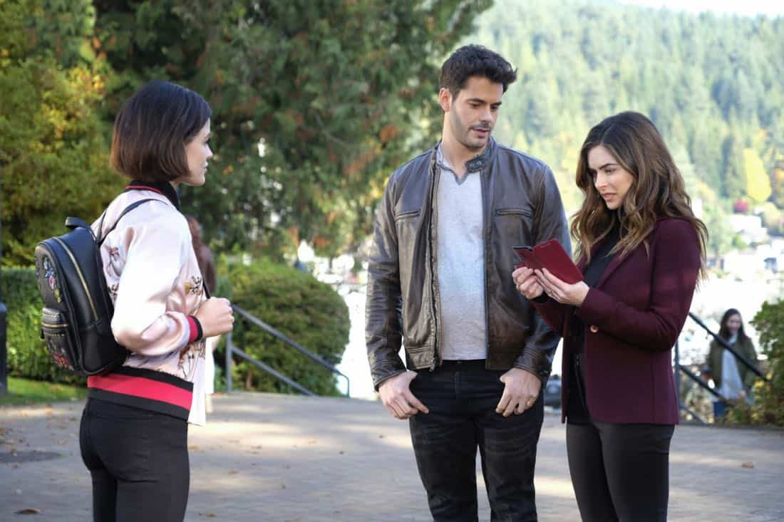 "Life Sentence -- ""Re-Inventing the Abbotts"" -- Image Number: LFS102d_0082b.jpg -- Pictured (L-R): Lucy Hale as Stella, Jayson Blair as Aiden and Brooke Lyons as Elizabeth -- Photo: Bettina Strauss/The CW -- © 2018 The CW Network, LLC. All Rights Reserved."