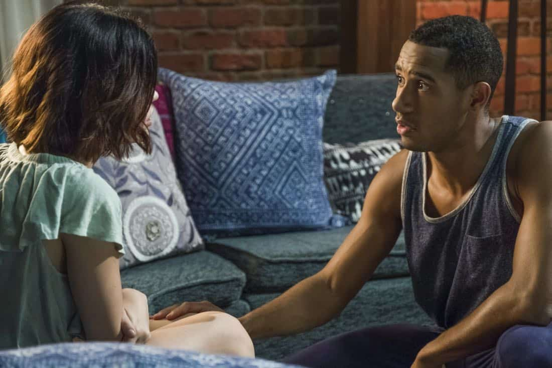"Life Sentence -- ""Re-Inventing the Abbotts"" -- Image Number: LFS102a_426b.jpg -- Pictured (L-R): Lucy Hale as Stella and Elliot Knight as Wes -- Photo: Eric Milner/The CW -- © 2018 The CW Network, LLC. All Rights Reserved."