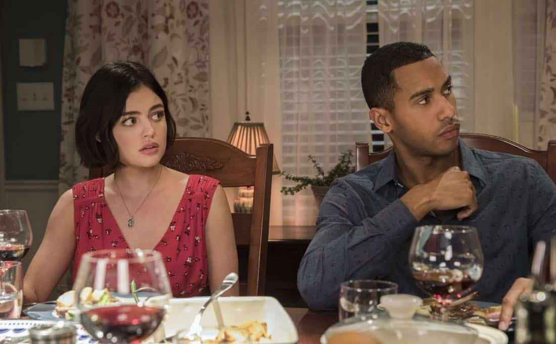"Life Sentence -- ""Re-Inventing the Abbotts"" -- Image Number: LFS102b_0198b.jpg -- Pictured (L-R): Lucy Hale as Stella and Elliot Knight as Wes -- Photo: Jack Rowand/The CW -- © 2018 The CW Network, LLC. All Rights Reserved."