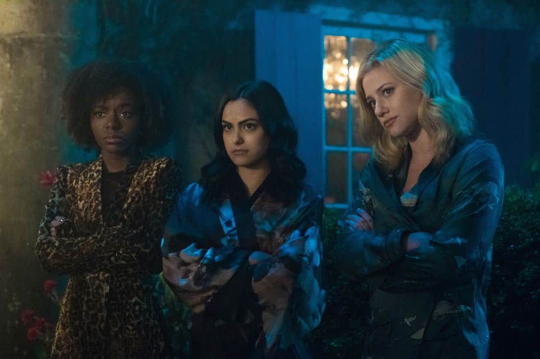 "Riverdale -- ""Chapter Twenty-Nine: Primary Colors"" -- Image Number: RVD216a_0163.jpg -- Pictured (L-R): Ashleigh Murray as Josie, Camila Mendes as Veronica and Lili Reinhart as Betty -- Photo: Katie Yu/The CW -- © 2018 The CW Network, LLC. All Rights Reserved."