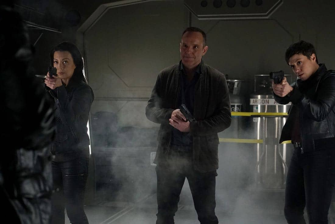 "MARVEL'S AGENTS OF S.H.I.E.L.D. - ""The Devil Complex"" - As Fitz and Simmons race to find a way to seal the Rift, they are faced with one of their greatest fears manifested, on ""Marvel's Agents of S.H.I.E.L.D.,"" FRIDAY, MARCH 23 (9:01-10:01 p.m. EDT), on The ABC Television Network. (ABC/Eric McCandless) MING-NA WEN, CLARK GREGG, BRIANA VENSKUS"