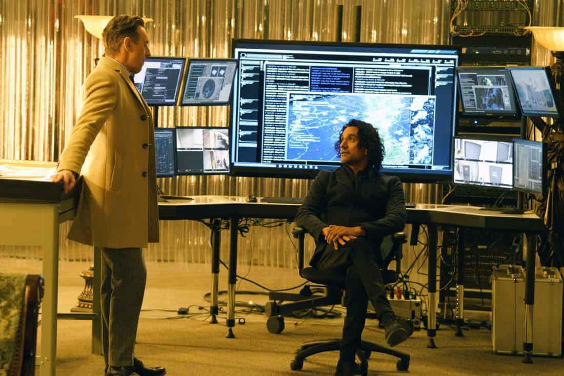 INSTINCT, a new drama starring Alan Cumming, Bojana Novakovic, Daniel Ings, Naveen Andrews and Sharon Leal, premieres Sunday, March 18 (8:00-9:00 PM, ET/PT) on the CBS Television Network. Alan Cumming stars as Dr. Dylan Reinhart, a gifted author, university professor and former CIA operative who is lured back to his old life by NYPD Detective Lizzie Needham (Bojana Novakovic) to help her stop a serial killer who is using Dylan's first book as a tutorial Pictured (L-R)  Alan Cumming as Dr. Dylan Reinhart and Naveen Andrews as  Julian Cousins  Photo: Jonathan Wenk /CBS © 2017 CBS Broadcasting Inc. All Rights Reserved.