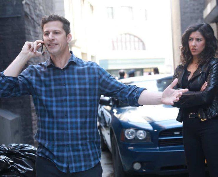 "BROOKLYN NINE-NINE: L-R: Andy Samberg and Stephanie Beatriz in the ""The Negotiation"" episode of BROOKLYN NINE-NINE airing Sunday, March 25 (8:30-9:00 PM ET/PT) on FOX.CR: FOX"