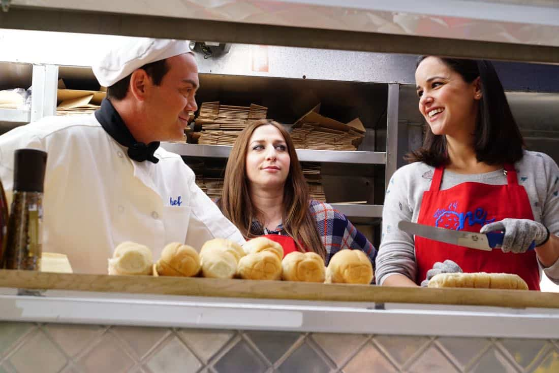 "BROOKLYN NINE-NINE: L-R: Joe Lo Truglio, Chelsea Peretti and Melissa Fumero in the ""The Negotiation"" episode of BROOKLYN NINE-NINE airing Sunday, March 25 (8:30-9:00 PM ET/PT) on FOX.CR: FOX"