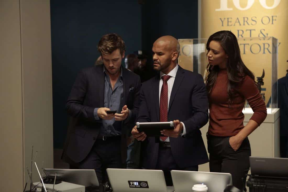"""DECEPTION - """"Escapology"""" - When an art museum docent is held hostage, Kay enlists Cameron and his team to help rescue her using the art of escapology, on """"Deception,"""" airing SUNDAY, MARCH 25 (10:01-11:00 p.m. EDT), on The ABC Television Network. (ABC/Giovanni Rufino) JACK CUTMORE, AMAURY NOLASCO, ILFENESH HADERA"""