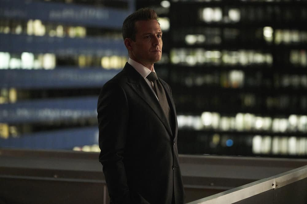 SUITS -- Episode 711 -- Pictured: Gabriel Macht as Harvey Spector -- (Photo by: Ian Watson/USA Network)