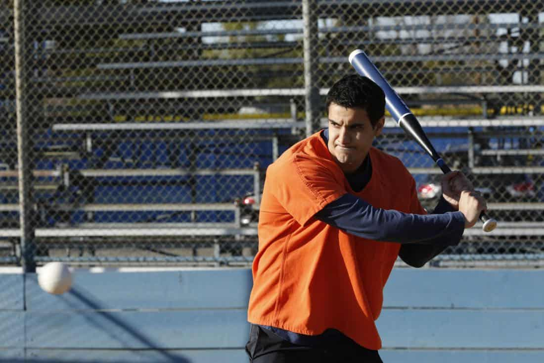"""Foul Balls"" -- Team Scorpion must use their high IQs to win a softball game when the homeland director challenges, with all of their future government contracts on the line. Also, Walter's secret night out with Florence puts Toby and Happy on edge, on SCORPION, Monday, March 26 (10:00-11:00 PM, ET/PT) on the CBS Television Network. Pictured: Elyes Gabel.   Photo: Cliff Lipson/CBS ©2018 CBS Broadcasting, Inc. All Rights Reserved"