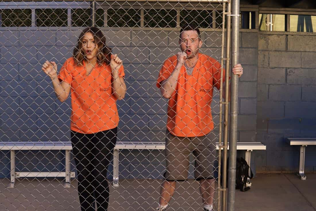 """Foul Balls"" -- Team Scorpion must use their high IQs to win a softball game when the homeland director challenges, with all of their future government contracts on the line. Also, Walter's secret night out with Florence puts Toby and Happy on edge, on SCORPION, Monday, March 26 (10:00-11:00 PM, ET/PT) on the CBS Television Network. Pictured: Katharine McPhee, Eddie Kaye Thomas.    Photo: Cliff Lipson/CBS ©2018 CBS Broadcasting, Inc. All Rights Reserved"