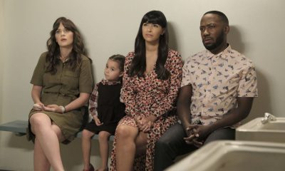 "NEW GIRL: L-R: Zooey Deschanel, guest star, Hannah Simone and Lamorne Morris in the ""About Three Years Later"" season seven premiere episode of NEW GIRL airing Tuesday, April10 (9:30-10:00 PM ET/PT) on FOX. ©2018 Fox Broadcasting Co. Cr: Ray Mickshaw/FOX"