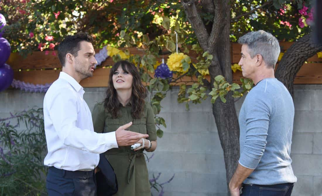 "NEW GIRL:  L-R:  Jake Johnson, Zooey Deschanel and guest star Dermot Mulroney in the ""About Three Years Later"" season seven premiere episode of NEW GIRL airing Tuesday, April10 (9:30-10:00 PM ET/PT) on FOX.  ©2018 Fox Broadcasting Co.  Cr:  Ray Mickshaw/FOX"