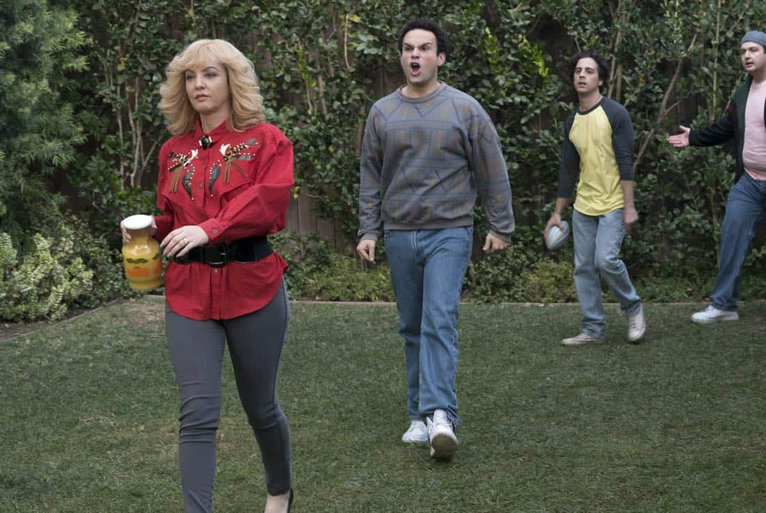 """THE GOLDBERGS - """"Colors"""" - Barry enlists the JTP to help him break up Beverly's group of friends so Barry can have all the attention but soon realizes he made a major mistake when Beverly gets into a fight with her friends. Meanwhile, Adam's attempts to trick Murray into loving theater backfire, on """"The Goldbergs,"""" WEDNESDAY, MARCH 28 (8:00-8:30 p.m. EDT), on The ABC Television Network. (ABC/Byron Cohen) WENDI MCLENDON-COVEY, TROY GENTILE, MATT BUSH, NOAH MUNCK"""