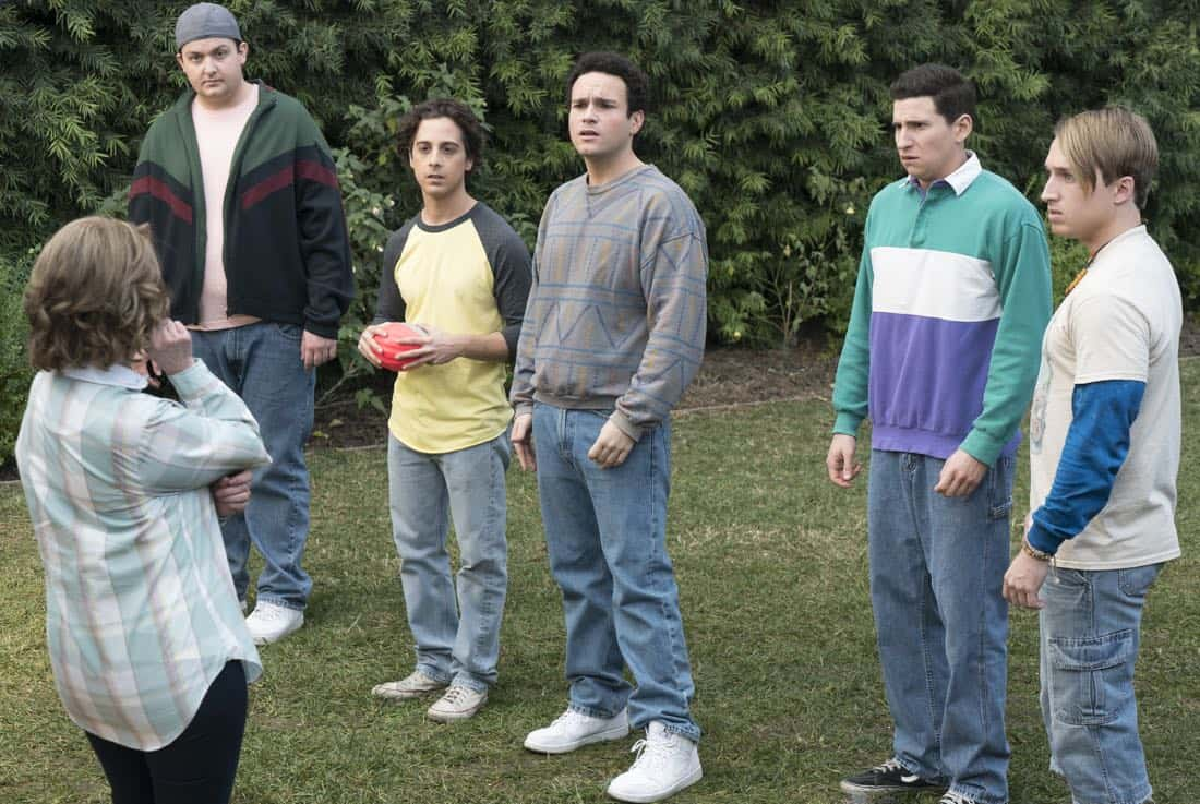 """THE GOLDBERGS - """"Colors"""" - Barry enlists the JTP to help him break up Beverly's group of friends so Barry can have all the attention but soon realizes he made a major mistake when Beverly gets into a fight with her friends. Meanwhile, Adam's attempts to trick Murray into loving theater backfire, on """"The Goldbergs,"""" WEDNESDAY, MARCH 28 (8:00-8:30 p.m. EDT), on The ABC Television Network. (ABC/Byron Cohen) NOAH MUNCK, MATT BUSH, TROY GENTILE, SAM LERNER, SHAYNE TOPP"""