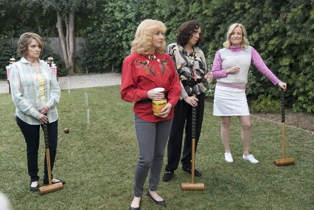 """THE GOLDBERGS - """"Colors"""" - Barry enlists the JTP to help him break up Beverly's group of friends so Barry can have all the attention but soon realizes he made a major mistake when Beverly gets into a fight with her friends. Meanwhile, Adam's attempts to trick Murray into loving theater backfire, on """"The Goldbergs,"""" WEDNESDAY, MARCH 28 (8:00-8:30 p.m. EDT), on The ABC Television Network. (ABC/Byron Cohen) WENDI MCLENDON-COVEY, STEPHANIE COURTNEY, JENNIFER IRWIN"""