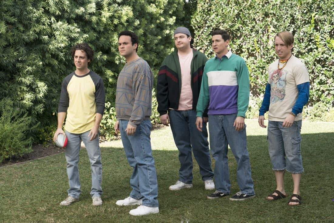 """THE GOLDBERGS - """"Colors"""" - Barry enlists the JTP to help him break up Beverly's group of friends so Barry can have all the attention but soon realizes he made a major mistake when Beverly gets into a fight with her friends. Meanwhile, Adam's attempts to trick Murray into loving theater backfire, on """"The Goldbergs,"""" WEDNESDAY, MARCH 28 (8:00-8:30 p.m. EDT), on The ABC Television Network. (ABC/Byron Cohen) MATT BUSH, TROY GENTILE, NOAH MUNCK, SAM LERNER, SHAYNE TOPP"""
