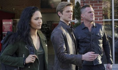 """""""Riley + Airplane"""" -- When Matty and the team search for a former government tech who stole classified intel and has been evading capture, they reunite with the Coltons, the family of bounty hunters, who are pursuing the same man for different reasons, on MACGYVER, Friday, March 30 (8:00-9:00 PM, ET/PT) on the CBS Television Network. Pictured: Tristin Mays, George Eads, Lucas Till. Photo: Annette Brown/CBS ©2018 CBS Broadcasting, Inc. All Rights Reserved"""