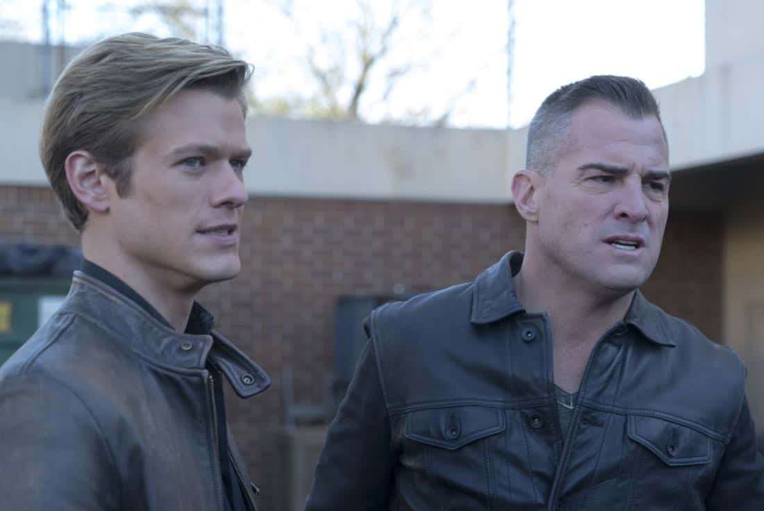 """""""Riley + Airplane"""" -- When Matty and the team search for a former government tech who stole classified intel and has been evading capture, they reunite with the Coltons, the family of bounty hunters, who are pursuing the same man for different reasons, on MACGYVER, Friday, March 30 (8:00-9:00 PM, ET/PT) on the CBS Television Network. Pictured:  Lucas Till, George Eads. Photo: Annette Brown/CBS ©2018 CBS Broadcasting, Inc. All Rights Reserved"""