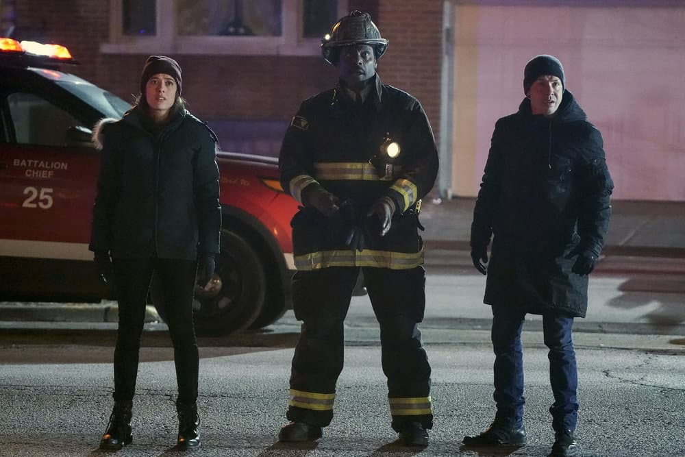 "CHICAGO FIRE -- ""Looking For A Lifeline"" Episode 614 -- Pictured: (l-r) Marina Squerciati as Kim Burgess, Eamonn Walker as Wallace Boden, Jon Seda as Antonio Dawson -- (Photo by: Elizabeth Morris/NBC)"