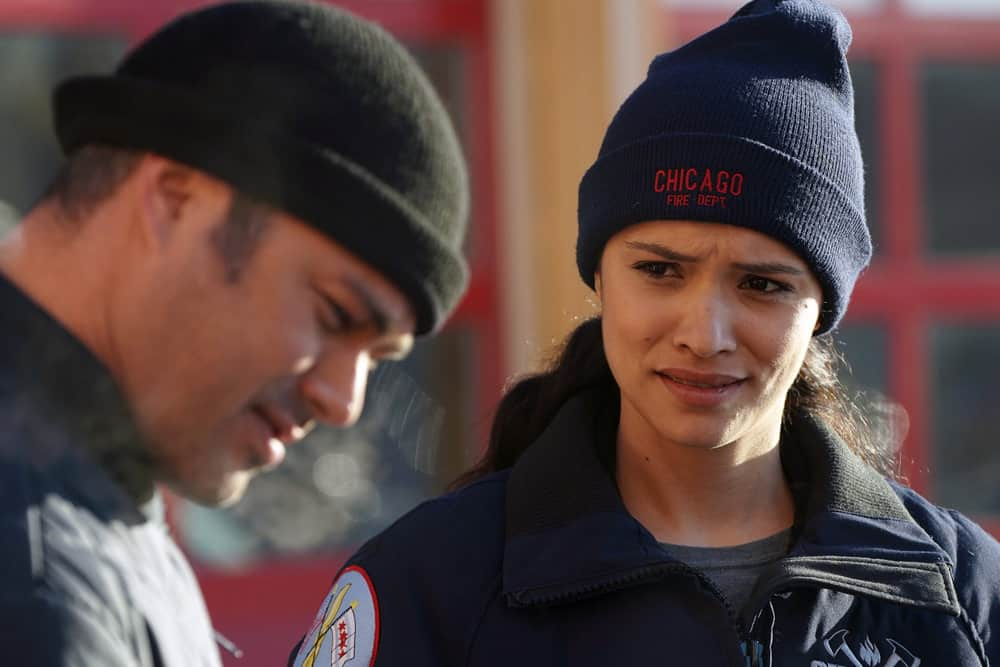 "CHICAGO FIRE -- ""Looking For A Lifeline"" Episode 614 -- Pictured: (l-r) Taylor Kinney as Kelly Severide, Miranda Rae Mayo as Stella Kidd -- (Photo by: Elizabeth Morris/NBC)"