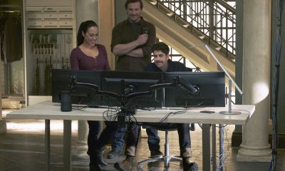"TAKEN -- ""Verum Nocet"" Episode 209 -- Pictured: (l-r) Jessica Camacho as Santana, Clive Standen as Bryan Mills, Adam Goldberg as Kilroy -- (Photo by: Christos Kalohoridis/NBC)"