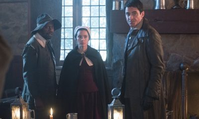 "TIMELESS -- ""The Salem Witch Hunt"" Episode 204 -- Pictured: (l-r) Michael Barrett as Rufus Carlin, Abigail Spencer as Lucy Preston, Goran Visnjic as Garcia Flynn -- (Photo by: Patrick Wymore/NBC)"
