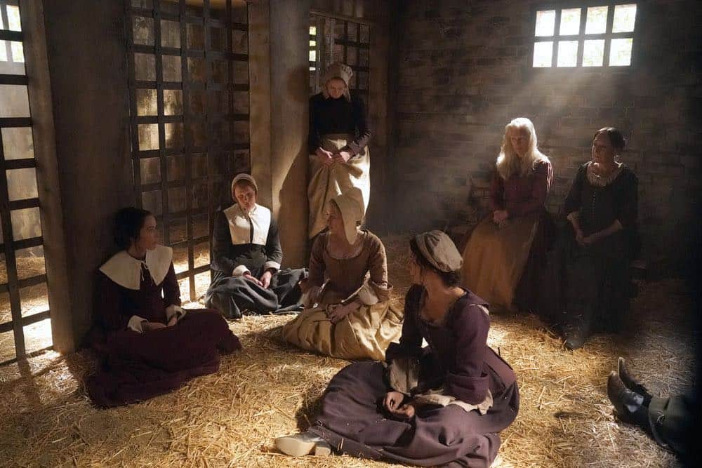 "TIMELESS -- ""The Salem Witch Hunt"" Episode 204 -- Pictured: (l-r) Abigail Spencer as Lucy Preston, Sofia Vassilieva as Abiah, Jennifer Christopher as Alice Parker -- (Photo by: Chris Haston/NBC)"