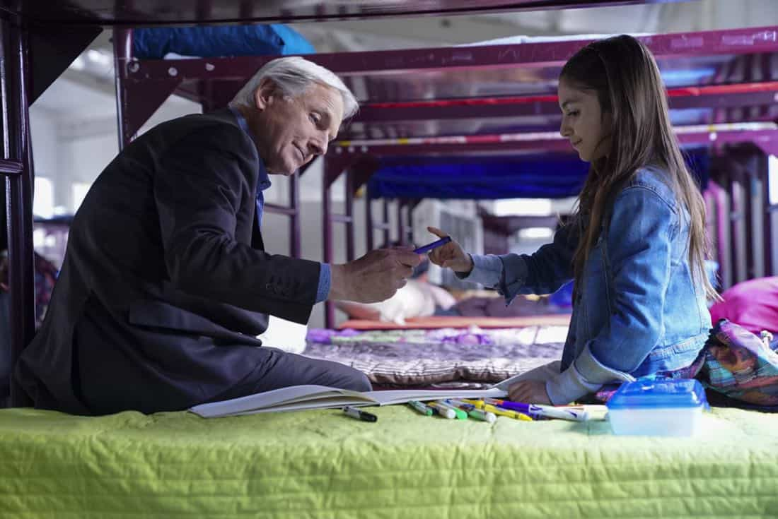 """The Numerical Limit"" -- Gibbs is granted protective custody of a 10-year-old orphaned refugee, Elena (Lily Rose Silver), when an NCIS case reveals she is the target of a violent gang, on NCIS, Tuesday, April 3 (8:00-9:00 PM, ET/PT) on the CBS Television Network. Pictured: Mark Harmon, Lily Rose Silver Photo: Sonja Flemming/CBS ©2018 CBS Broadcasting, Inc. All Rights Reserved"