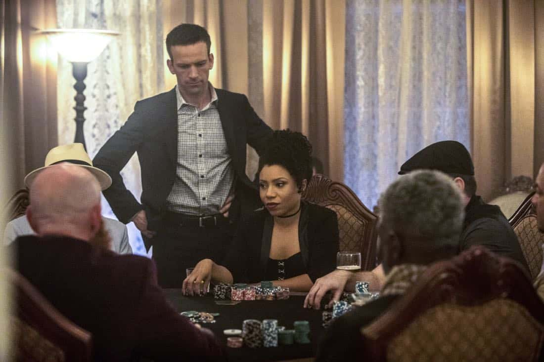 """High Stakes"" -- Percy and Lasalle go undercover at a high-stakes, underground poker game after the organizer targets players with access to a naval research laboratory. Also, Laurel Pride (Shanley Caswell) visits her dad during spring break to discuss options after her upcoming graduation, on NCIS: NEW ORLEANS, Tuesday, April 3 (10:00-11:00 PM, ET/PT) on the CBS Television Network. Pictured L-R: Lucas Black as Special Agent Christopher LaSalle and Shalita Grant as Sonja Percy Photo: Skip Bolen/CBS ©2018 CBS Broadcasting, Inc. All Rights Reserved"