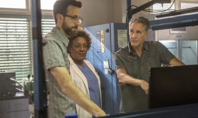 """""""High Stakes"""" -- Percy and Lasalle go undercover at a high-stakes, underground poker game after the organizer targets players with access to a naval research laboratory. Also, Laurel Pride (Shanley Caswell) visits her dad during spring break to discuss options after her upcoming graduation, on NCIS: NEW ORLEANS, Tuesday, April 3 (10:00-11:00 PM, ET/PT) on the CBS Television Network. Pictured L-R: Rob Kerkovich as Forensic Scientist Sebastian Lund, CCH Pounder as Dr. Loretta Wade, and Scott Bakula as Special Agent Dwayne Pride Photo: Skip Bolen/CBS ©2018 CBS Broadcasting, Inc. All Rights Reserved"""