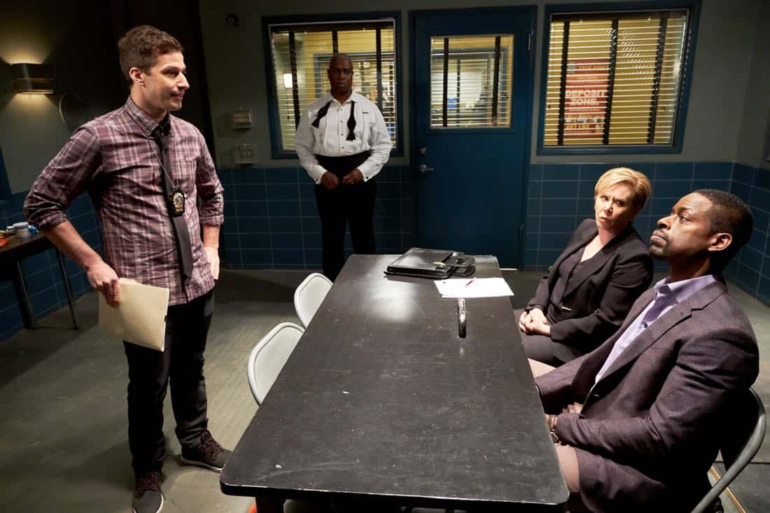 """BROOKLYN NINE-NINE: (L-R) Andy Samberg, Andre Braugher, guest star XXX and guest star Sterling K. Brown in the """"The Box"""" episode of BROOKLYN NINE-NINE airing Sunday, April 1 (8:30-9:00 PM ET/PT) on FOX. CR: FOX"""