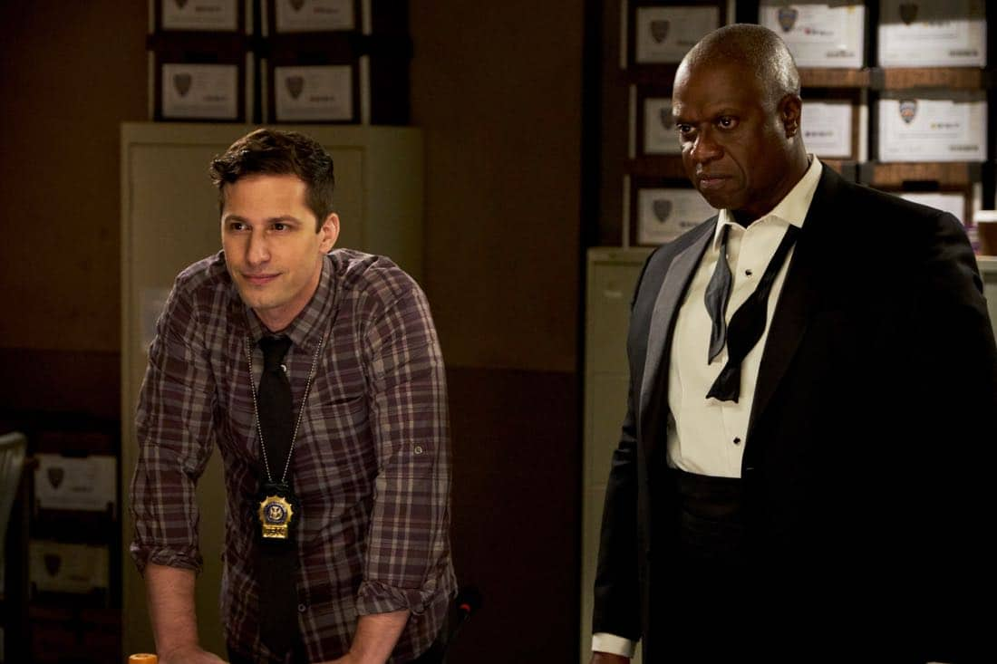 """BROOKLYN NINE-NINE: (L-R) Andy Samberg and Andre Braugher in the """"The Box"""" episode of BROOKLYN NINE-NINE airing Sunday, April 1 (8:30-9:00 PM ET/PT) on FOX. CR: FOX"""