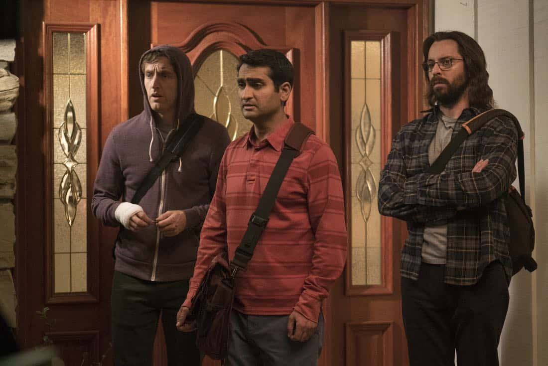 Episode 40 (season 5, episode 2), debut 4/1/18: Thomas Middleditch, Kumail Nanjiani, Martin Starr. photo: Ali Paige Goldstein/HBO