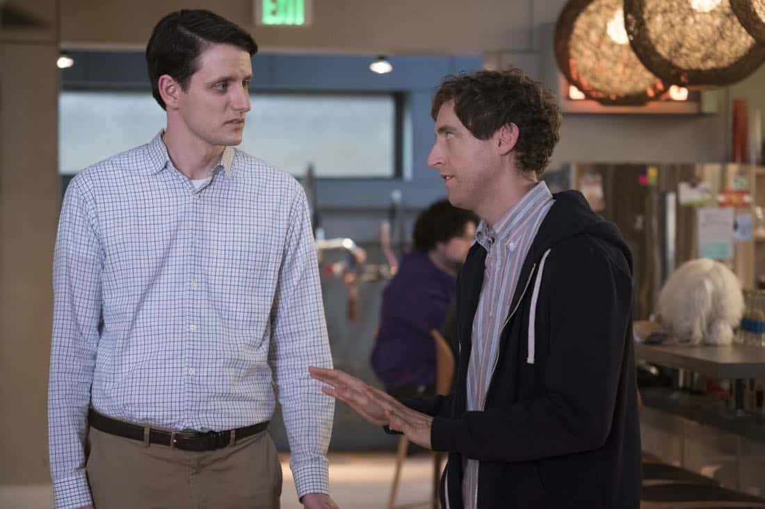 Episode 40 (season 5, episode 2), debut 4/1/18: Zach Woods, Thomas Middleditch. photo: Ali Paige Goldstein/HBO