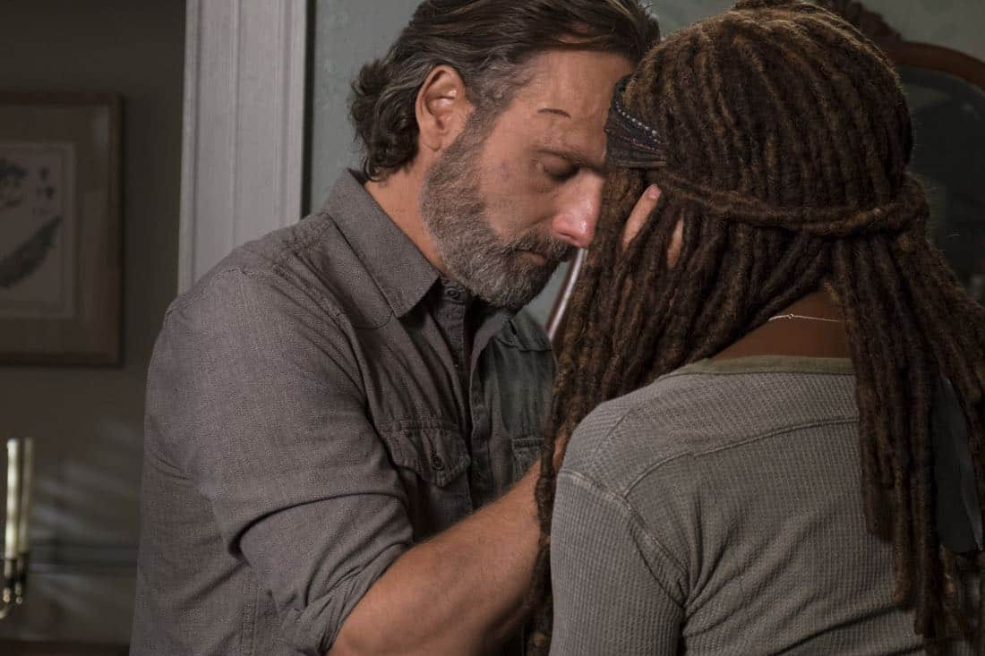 Andrew Lincoln as Rick Grimes, Danai Gurira as Michonne - The Walking Dead _ Season 8, Episode 14 - Photo Credit: Gene Page/AMC
