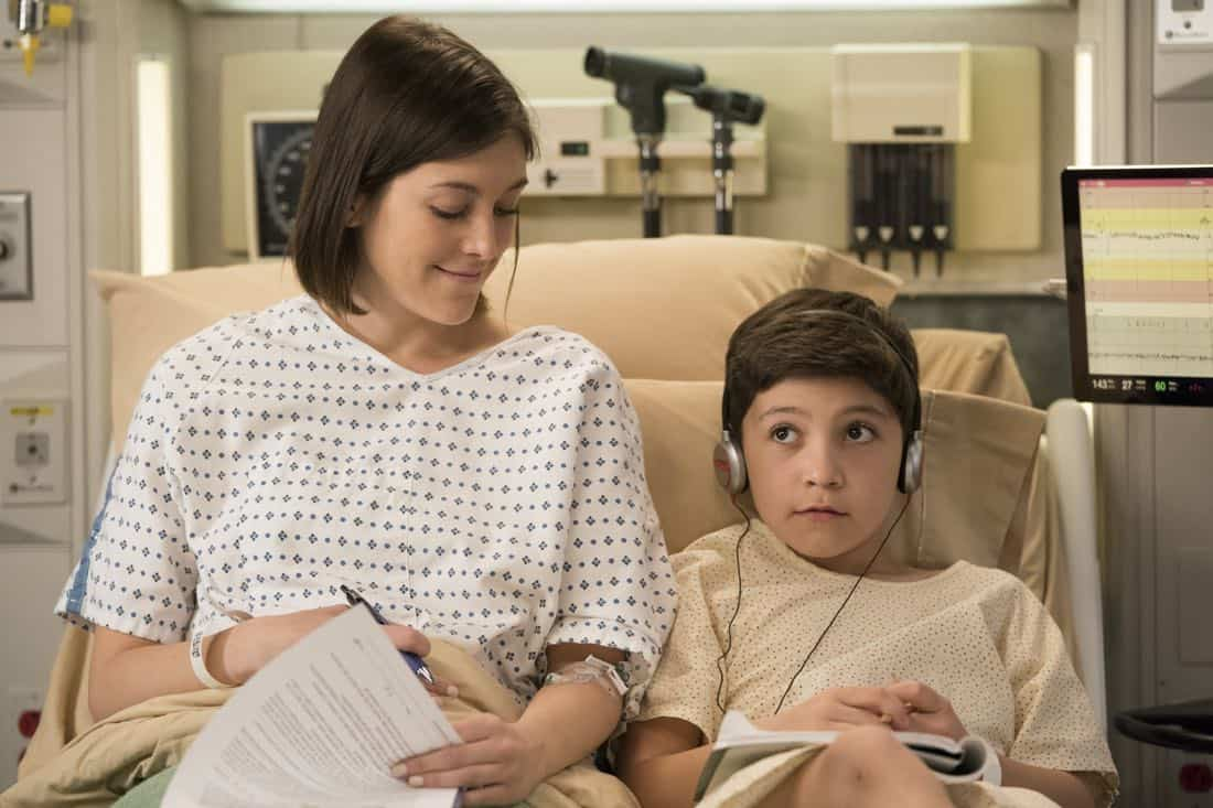 "GREY'S ANATOMY - ""Hold Back the River"" - Amelia, Koracick and DeLuca perform a risky, groundbreaking procedure using ultrasound waves to remove a young patient's brain tumor. Meanwhile, Meredith and Jo work with different polymers to try to salvage their project submission; and Richard's AA sponsor is admitted to Grey Sloan with a DNR, on ""Grey's Anatomy,"" THURSDAY, APRIL 5 (8:00-9:00 p.m. EDT), on The ABC Television Network. (ABC/Mitch Haaseth) CAITLIN MCGEE, STEELE GAGNON"