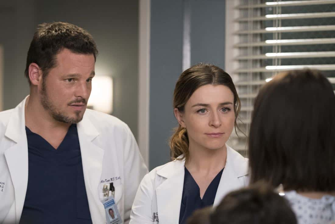 "GREY'S ANATOMY - ""Hold Back the River"" - Amelia, Koracick and DeLuca perform a risky, groundbreaking procedure using ultrasound waves to remove a young patient's brain tumor. Meanwhile, Meredith and Jo work with different polymers to try to salvage their project submission; and Richard's AA sponsor is admitted to Grey Sloan with a DNR, on ""Grey's Anatomy,"" THURSDAY, APRIL 5 (8:00-9:00 p.m. EDT), on The ABC Television Network. (ABC/Mitch Haaseth) JUSTIN CHAMBERS, CATERINA SCORSONE"