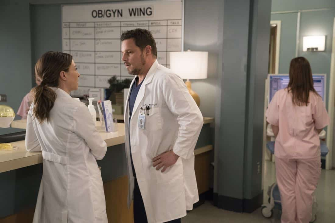 "GREY'S ANATOMY - ""Hold Back the River"" - Amelia, Koracick and DeLuca perform a risky, groundbreaking procedure using ultrasound waves to remove a young patient's brain tumor. Meanwhile, Meredith and Jo work with different polymers to try to salvage their project submission; and Richard's AA sponsor is admitted to Grey Sloan with a DNR, on ""Grey's Anatomy,"" THURSDAY, APRIL 5 (8:00-9:00 p.m. EDT), on The ABC Television Network. (ABC/Mitch Haaseth) CATERINA SCORSONE, JUSTIN CHAMBERS"