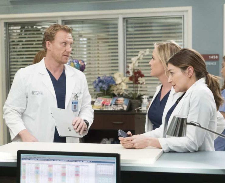 "GREY'S ANATOMY - ""Hold Back the River"" - Amelia, Koracick and DeLuca perform a risky, groundbreaking procedure using ultrasound waves to remove a young patient's brain tumor. Meanwhile, Meredith and Jo work with different polymers to try to salvage their project submission; and Richard's AA sponsor is admitted to Grey Sloan with a DNR, on ""Grey's Anatomy,"" THURSDAY, APRIL 5 (8:00-9:00 p.m. EDT), on The ABC Television Network. (ABC/Kelsey McNeal) KEVIN MCKIDD, JESSICA CAPSHAW, CATERINA SCORSONE"