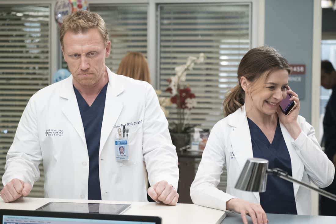 "GREY'S ANATOMY - ""Hold Back the River"" - Amelia, Koracick and DeLuca perform a risky, groundbreaking procedure using ultrasound waves to remove a young patient's brain tumor. Meanwhile, Meredith and Jo work with different polymers to try to salvage their project submission; and Richard's AA sponsor is admitted to Grey Sloan with a DNR, on ""Grey's Anatomy,"" THURSDAY, APRIL 5 (8:00-9:00 p.m. EDT), on The ABC Television Network. (ABC/Kelsey McNeal) KEVIN MCKIDD, CATERINA SCORSONE"