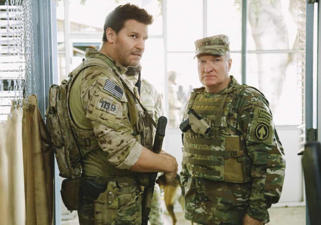 """Credible Threat"" -- Jason and the SEAL Team are tasked with protecting a delegation of congressmen and department of defense officials who come to Jalalabad for a publicity tour even though a credible threat has been made against them, on SEAL TEAM, Wednesday, April 11 (9:01-10:00 PM, ET/PT) on the CBS Television Network.  Pictured L to R: David Boreanaz as Jason hayes and Dennis Cockrum as General Cook. Photo: Cliff Lipson/CBS ©2018 CBS Broadcasting, Inc. All Rights Reserved"
