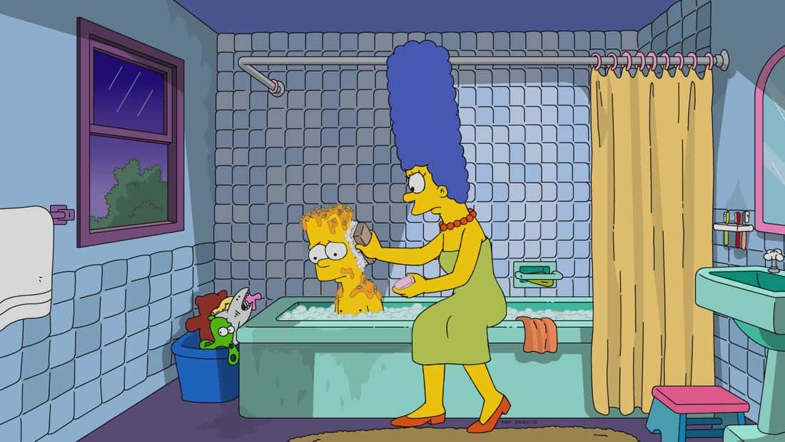 """THE SIMPSONS: Bart goes to prankster rehab after a clown-mask prank terrifies the town and destroys Krusty's career. A tortured Krusty then tries his hand at serious drama with a regional theater company in the all-new """"Fears of a Clown"""" episode of THE SIMPSONS airing Sunday, April 1 (8:00-8:30 PM ET/PT) on FOX. THE SIMPSONS ™ and © 2017 TCFFC ALL RIGHTS RESERVED."""