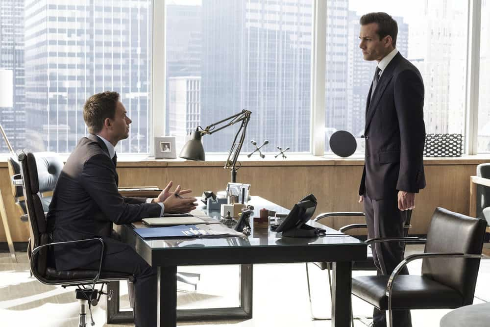 """SUITS -- """"Bad Man"""" Episode 712 -- Pictured: (l-r) Patrick J. Adams as Mike Ross, Gabriel Macht as Harvey Specter -- (Photo by: Christos Kalohoridis/USA Network)"""