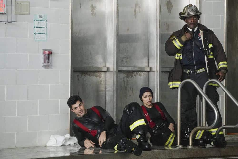 "CHICAGO FIRE -- ""Put White On Me"" Episode 617 -- Pictured: (l-r) Daniel Di Tomasso as Zach Torbett, Miranda Rae Mayo as Stella Kidd, Eamonn Walker as Wallace Boden -- (Photo by: Elizabeth Morris/NBC)"
